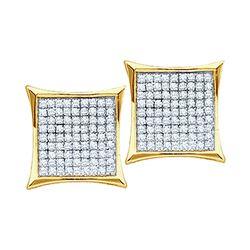 Diamond Square Kite Cluster Earrings 1/10 Cttw 10kt Yellow Gold