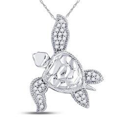 Diamond Turtle Tortoise Animal Pendant 1/10 Cttw 10kt White Gold