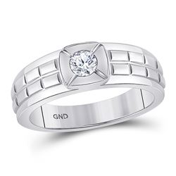 Mens Diamond Solitaire Grid Fashion Ring 1/2 Cttw 14kt White Gold