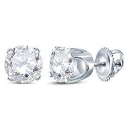 Unisex Diamond Solitaire Stud Earrings 1.00 Cttw 14kt White Gold