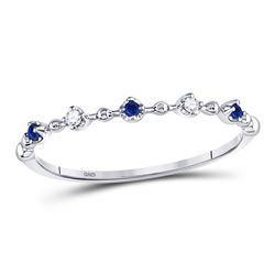 Round Blue Sapphire Diamond Beaded Stackable Band Ring 1/20 Cttw 10kt White Gold