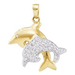 Diamond Double Dolphin Fish Animal Pendant 1/8 Cttw 10kt Yellow Gold