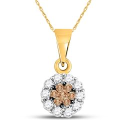 Brown Flower Cluster Diamond Pendant 1/4 Cttw 14k Yellow Gold