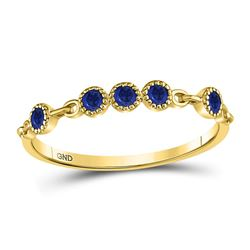 Round Blue Sapphire Dot Stackable Band Ring 1/5 Cttw 10kt Yellow Gold