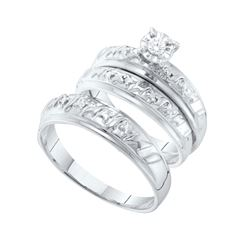 His & Hers Diamond Solitaire Matching Bridal Wedding Ring Band Set 1/12 Cttw 14kt White Gold