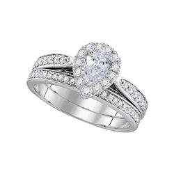 Pear Diamond Bridal Wedding Engagement Ring Band Set 1.00 Cttw 14kt White Gold
