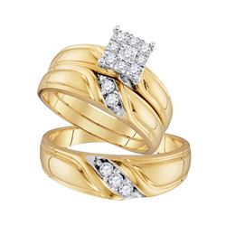 His & Hers Diamond Cluster Matching Bridal Wedding Ring Band Set 1/3 Cttw 10kt Yellow Gold