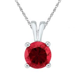 Round Lab-Created Ruby Solitaire Pendant 1-1/3 Cttw 10kt White Gold