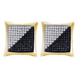 Mens Round Black Color Enhanced Diamond Square Kite Cluster Earrings 1/4 Cttw 10kt Yellow Gold