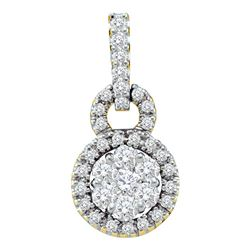 Diamond Circle Frame Flower Cluster Pendant 1/2 Cttw 14kt Yellow Gold