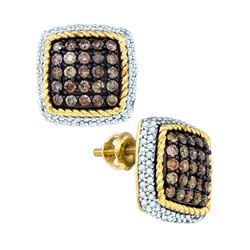 Round Brown Diamond Square Rope Frame Earrings 1-1/4 Cttw 10kt Yellow Gold
