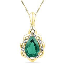 Pear Lab-Created Emerald Solitaire Diamond Pendant 3-3/8 Cttw 10kt Yellow Gold