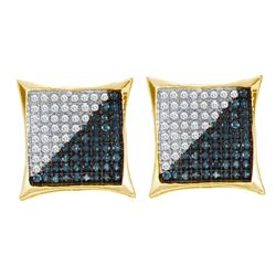 Mens Round Blue Color Enhanced Diamond Square Kite Cluster Earrings 1/3 Cttw 10kt Yellow Gold