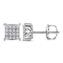 Diamond Square Cluster Earrings 1/4 Cttw 10kt White Gold
