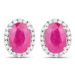 2.06 ctw Ruby & White Diamond Earrings 14K White Gold - REF-53N8A