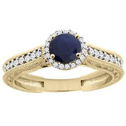 1.29 CTW Blue Sapphire & Diamond Ring 14K Yellow Gold - REF-88N6Y