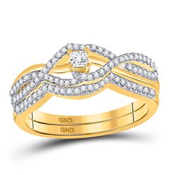Diamond Bridal Wedding Engagement Ring Band Set 1/3 Cttw 10kt Yellow Gold