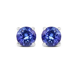 0.94 ctw Tanzanite Earrings 14K White Gold - REF-36N4A