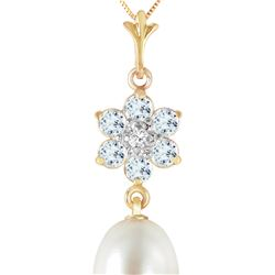 Genuine 4.53 ctw Pearl, Aquamarine & Diamond Necklace 14KT Yellow Gold - REF-30R2P