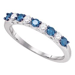 Round Blue Color Enhanced Diamond Wedding Band Ring 1/2 Cttw 10kt White Gold