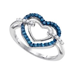Round Blue Color Enhanced Diamond Double Frame Heart Ring 1/4 Cttw 10kt White Gold