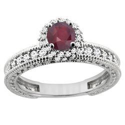 0.95 CTW Ruby & Diamond Ring 14K White Gold - REF-66M2A