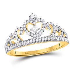 Diamond Heart Crown Fashion Ring 1/5 Cttw 10kt Yellow Gold