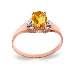 Genuine 0.76 ctw Citrine & Diamond Ring 14KT Rose Gold - REF-20R8P