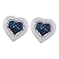 Round Blue Color Enhanced Diamond Heart Screwback Earrings 3/8 Cttw 10kt White Gold