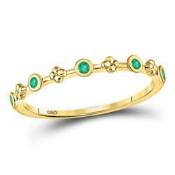 Round Emerald Dot Flower Stackable Band Ring 1/12 Cttw 10kt Yellow Gold