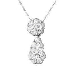 2 CTW Diamond Necklace 14K White Gold - REF-193R8K