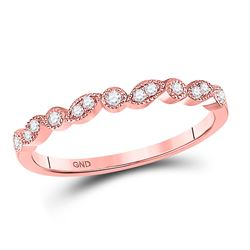 Diamond Floral Stackable Band Ring 1/10 Cttw 10kt Rose Gold