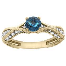 0.81 CTW London Blue Topaz & Diamond Ring 14K Yellow Gold - REF-67M9A