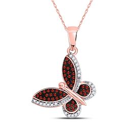 Round Red Color Enhanced Diamond Butterfly Bug Pendant 1/5 Cttw 10kt Rose Gold