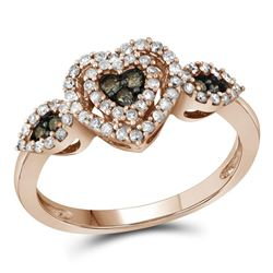 Round Brown Diamond Heart Cluster Ring 3/8 Cttw 10kt Rose Gold