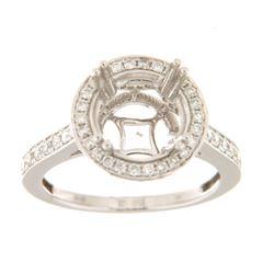 0.65 CTW Diamond Semi Mount Ring 14K White Gold - REF-69R2K