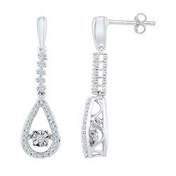 Diamond Moving Twinkle Teardrop Dangle Earrings 1/5 Cttw 10kt White Gold