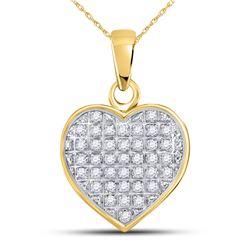 Diamond Heart Cluster Pendant 1/10 Cttw 10kt Yellow Gold