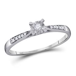 Diamond Solitaire Bridal Wedding Engagement Ring 1/10 Cttw 10kt White Gold