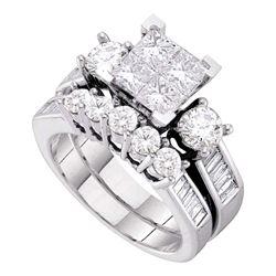 Diamond Bridal Wedding Engagement Ring Band Set 3.00 Cttw 10kt White Gold