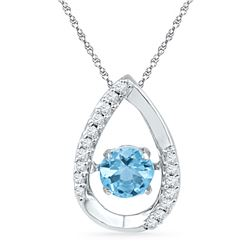 Round Lab-Created Blue Topaz Solitaire Pendant 3/4 Cttw 10kt White Gold