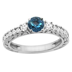 1.35 CTW London Blue Topaz & Diamond Ring 14K White Gold - REF-79K6W