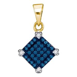 Round Blue Color Enhanced Diamond Square Pendant 1/6 Cttw 10kt Yellow Gold