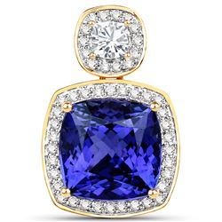 9.25 ctw Tanzanite & Diamond Pendant 18K Yellow Gold - REF-1010N2A