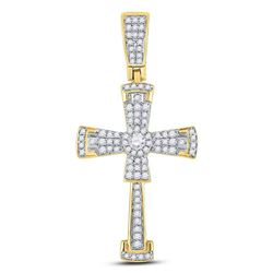 Mens Diamond Flared Cross Crucifix Charm Pendant 1/2 Cttw 10kt Yellow Gold