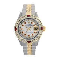 Rolex Pre-owned 26mm Womens Custom String White MOP Two Tone - REF-530M4R