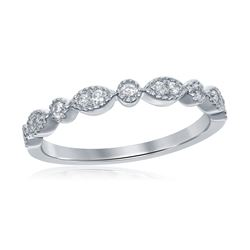 Diamond Milgrain Stackable Band Ring 1/6 Cttw 14kt White Gold