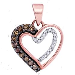 Round Brown Diamond Heart Pendant 1/5 Cttw 10kt Rose Gold