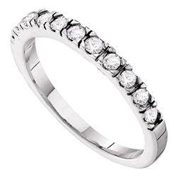 Diamond Slender 3mm Wedding Band 1/3 Cttw 14kt White Gold