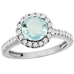 1.13 CTW Aquamarine & Diamond Ring 10K White Gold - REF-56N5Y
